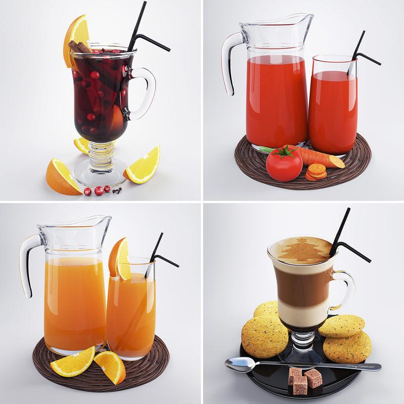 3d model of set vegetable juice