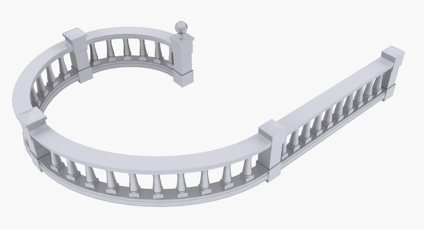terrace railing set 3d max