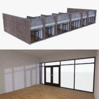 strip mall store unit 3d model