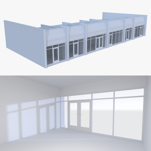 3d strip mall store unit