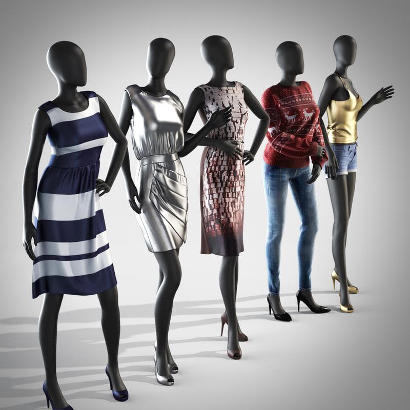 3d model of female mannequin dress set