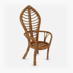 3d max chair rattan vintage leaf
