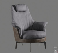 3d model guscioalto light armchair