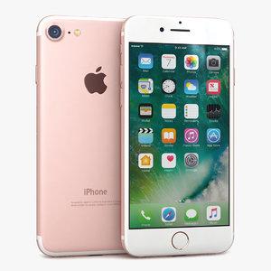 3d model apple iphone 7 rose