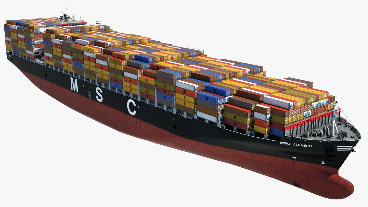 container ship msc alghero 3ds