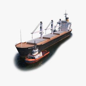 bulk carrier tugboat tug 3d model