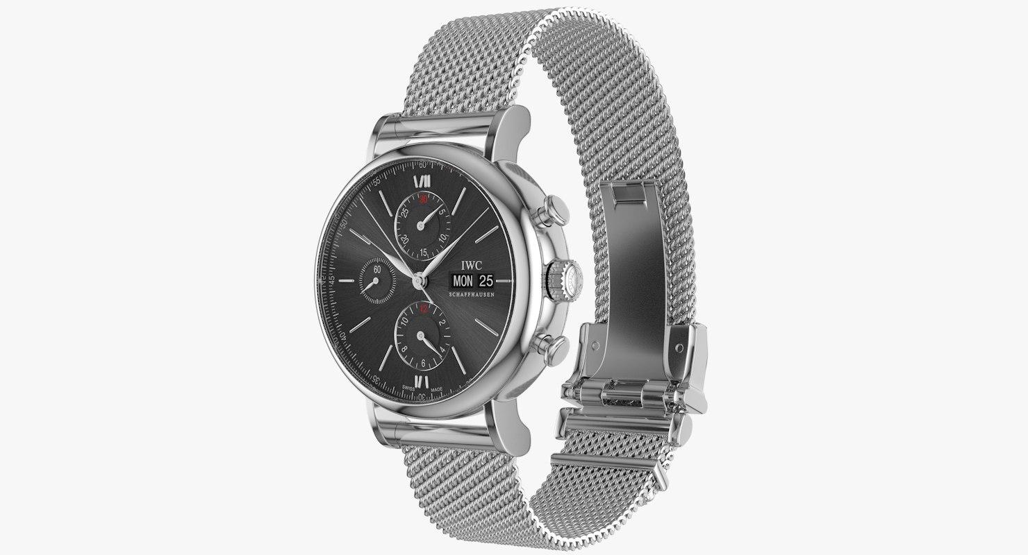 3d realistic iwc portofino chronograph