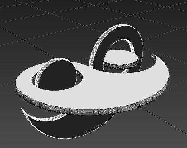 3ds unusual three-dimensional rotating yin-yang