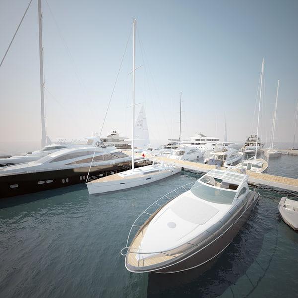 3d yachts marina sailboat model