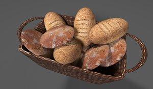 3d bread basket model