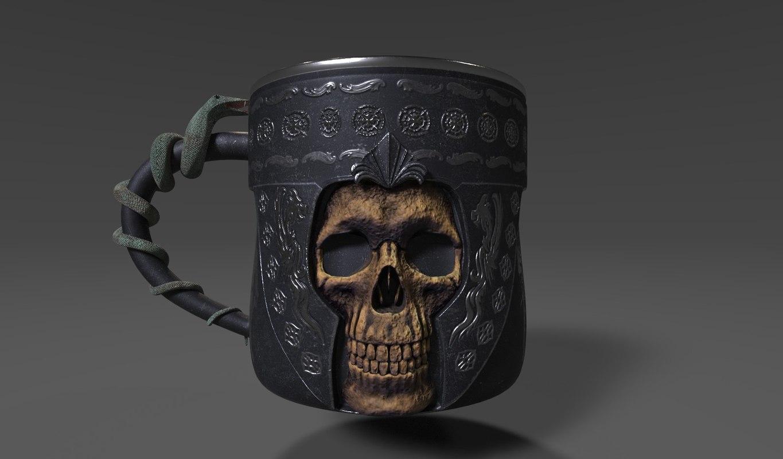 gothic horror mug skull obj