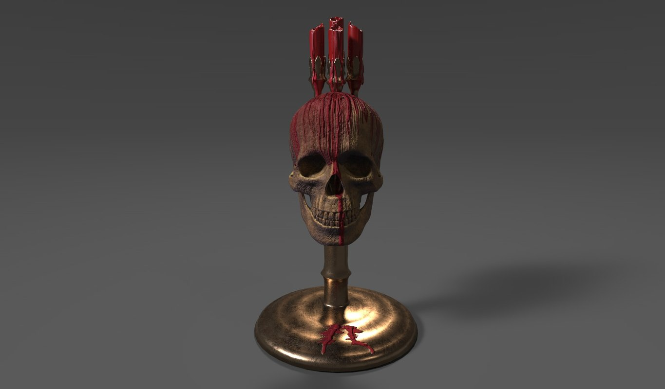 gothic horror candles 3d model