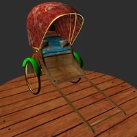 rickshaw pull 3d max