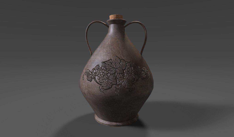 3d terracotta wine jug