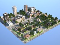 town suburb 3d max