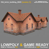 3d low-polygonal brick building old model