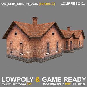3d low-polygonal brick building old model
