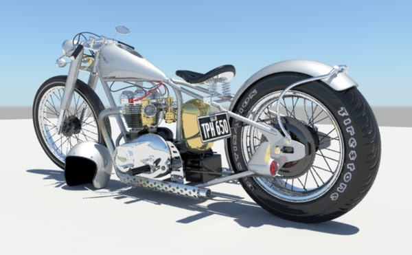 triumph bobber motorcycle 3d model