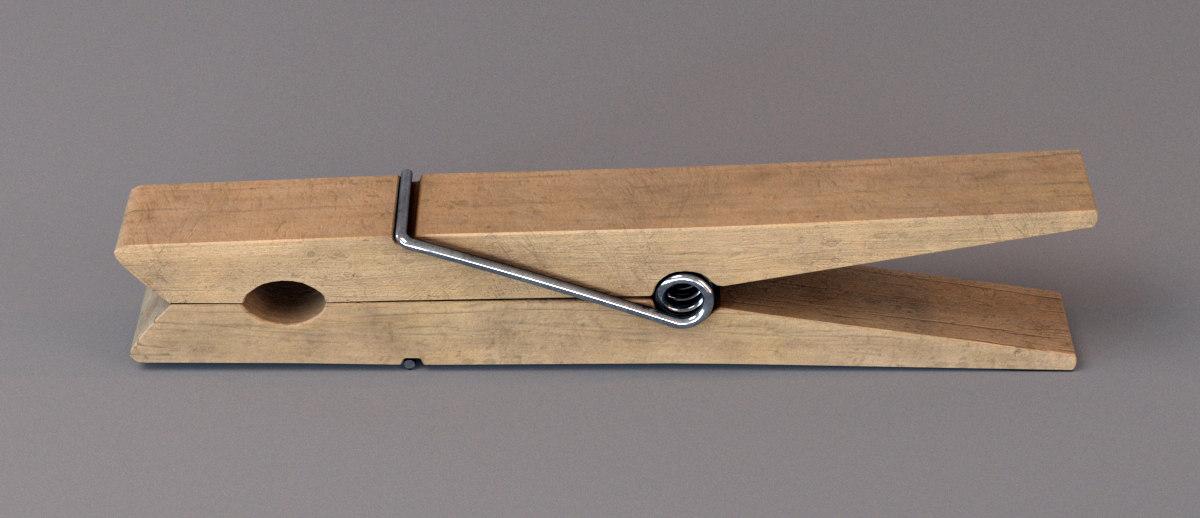 3d model wood clothespin