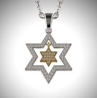 3d model star david pendant gemstones