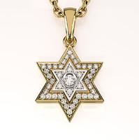 star david pendant gemstones 3d model