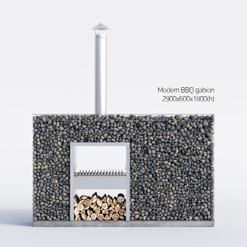 modern bbq gabion 3d max
