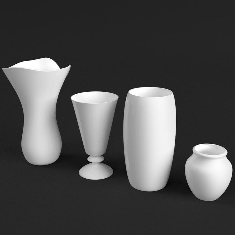 3d model 4 vases set
