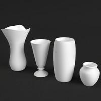 4 vases set 3d max