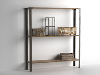 3d model shelves composition crates blank