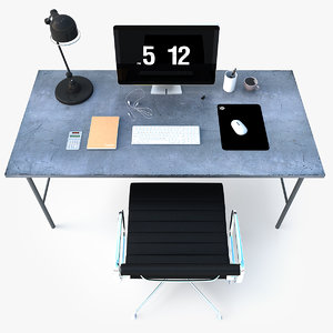 3d 3ds photorealistic industrial office desk