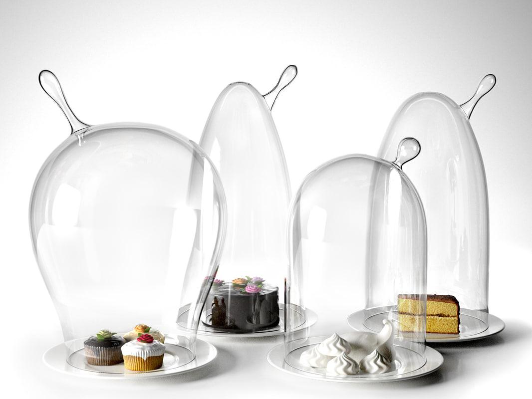 glass domes dessert 3d model
