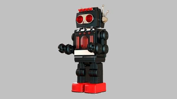 3d model vintage robot toy hd