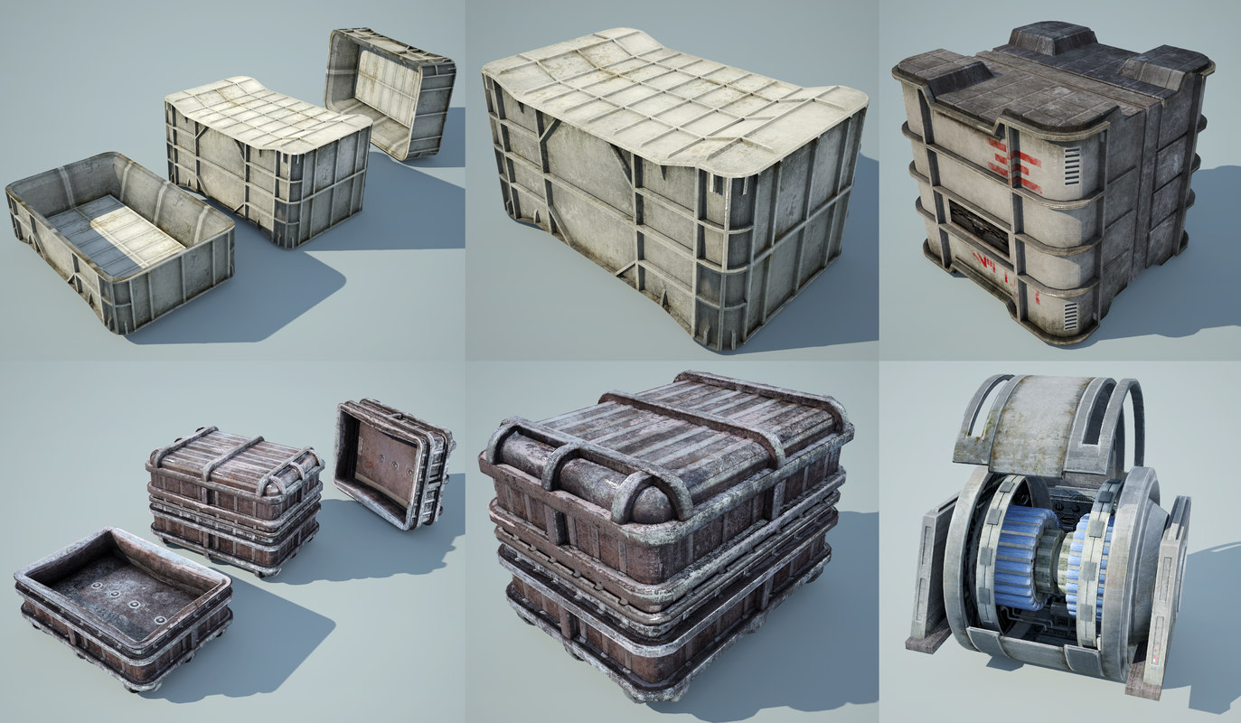 3d ready star wars crates model