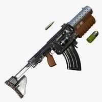 3d model sci-fi rifle