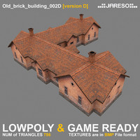 3d 3ds low-polygonal brick building old
