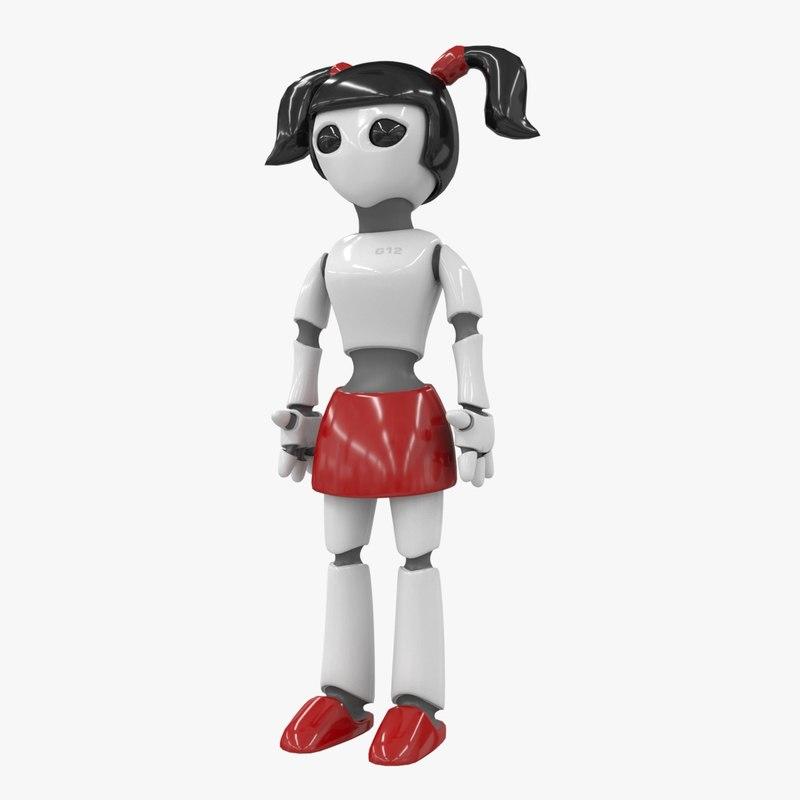 low-poly robot girl 3d max