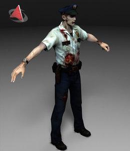 zombie police 3d model