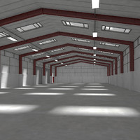 warehouse interior exterior scene 3d model