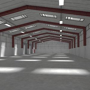 warehouse interior exterior scene 3d model