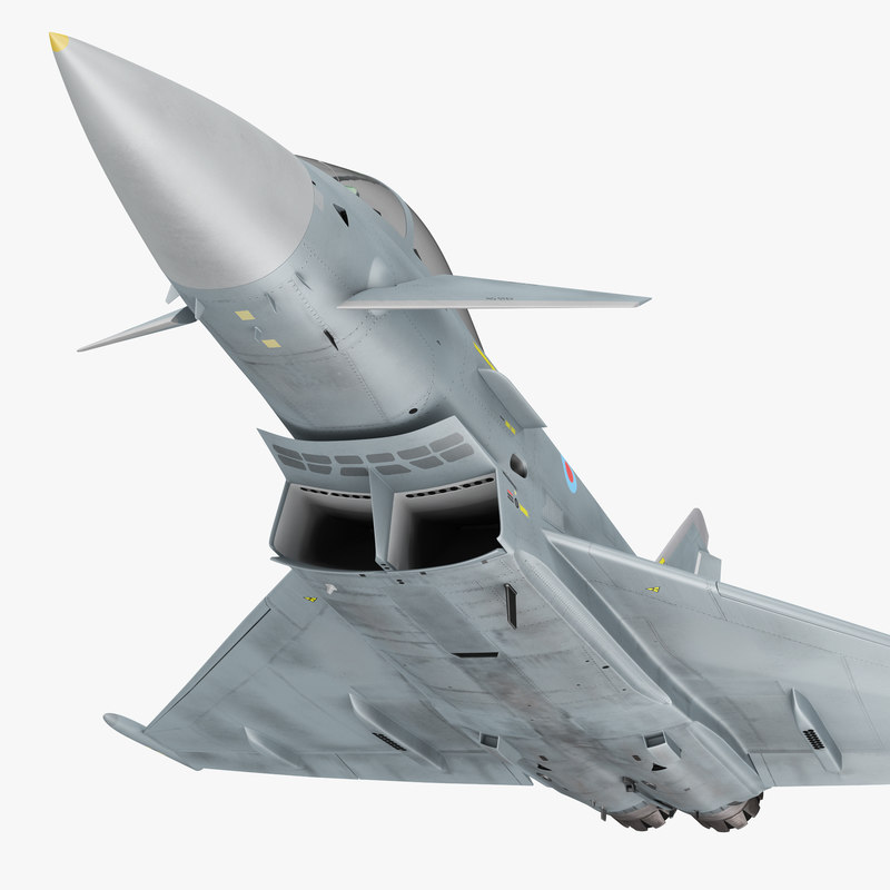 3d model of fighter eurofighter typhoon rigged