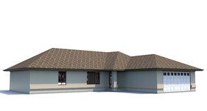 3d home garage roofed model