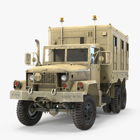 M109 Shop Van Desert Rigged 3D Model