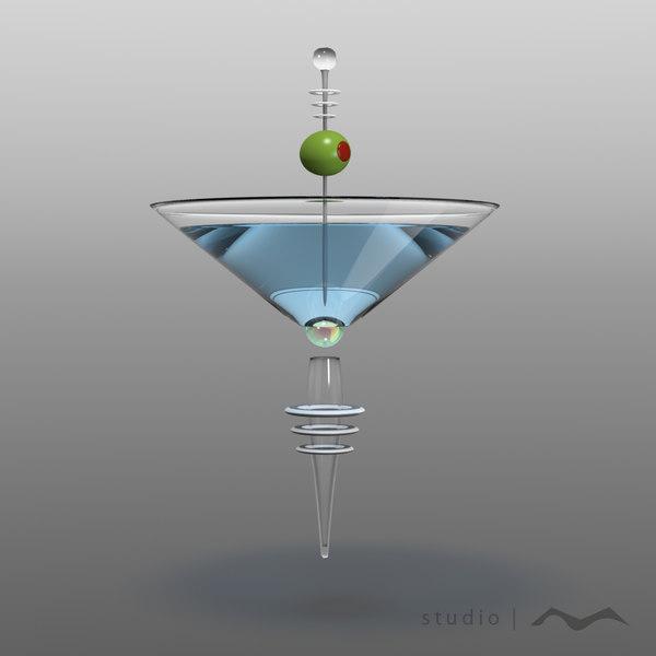 obj futuristic martini float glass