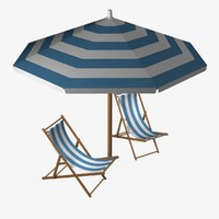 beach chair umbrella 3d 3ds