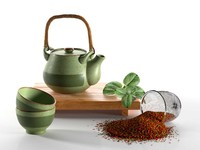 3d rustic tea set model