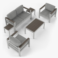 3d aluminium outdor set loveseat model