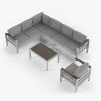 Aluminium outdor furniture set, armchair, sectional corner sofa, coffee table.