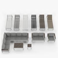 Aluminium outdor furniture collection - armchair, sectional corner sofa, coffee table side table, lounger, chaise