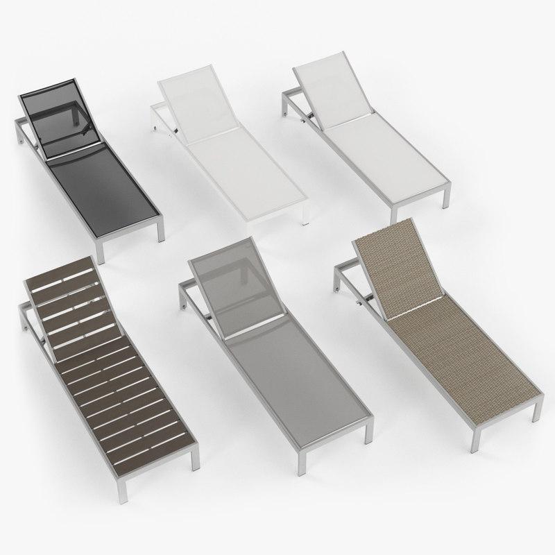 3d aluminium outdor lounger fabric model