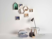 Composition of Decor, Pillows and Lamp by Bloomingville
